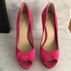 B Brian Atwood Shoes - B Brian Atwood Hot Pink Suede and Sparkle Heels